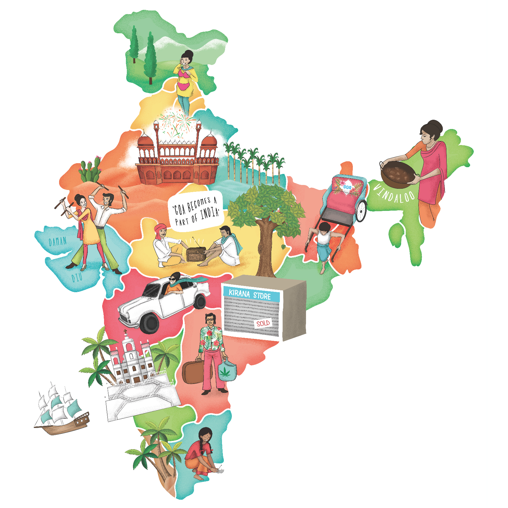 """1961 : """"1961 is the year that Goa became a part of India. For most of us Goa has been a right to passage, to being or at least feeling like an adult. A map of India where people all over are rejoicing the inclusion of Goa. Somewhere in Punjab a kirana store uncle has shut shop and packed his suitcases ready to visit Goa. College students take a bus from Bombay to Goa. Aunties buying knee length swimsuits in anticipation of Goa becoming there next holiday. A couple decides to finally get married now that they have a honey moon destination. For year 1961, the theme is independence of Goa."""" ~ Gargi Chandola"""
