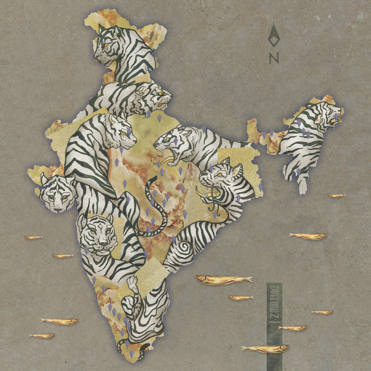 """1973 : """"Project Tiger - launched by the Government of India in April 1973 as an effort to preserve and protect the royal animal, a few months after this majestic beast was declared the National Animal of India!  The Tiger as our National Animal symbolizes the power, strength, beauty, elegance, alertness, intelligence and endurance of the nation. And thus, it's symbolic and existential significance was realised in the year 1973. I would like to depict this through my art."""" ~ Ishaan Bharat"""