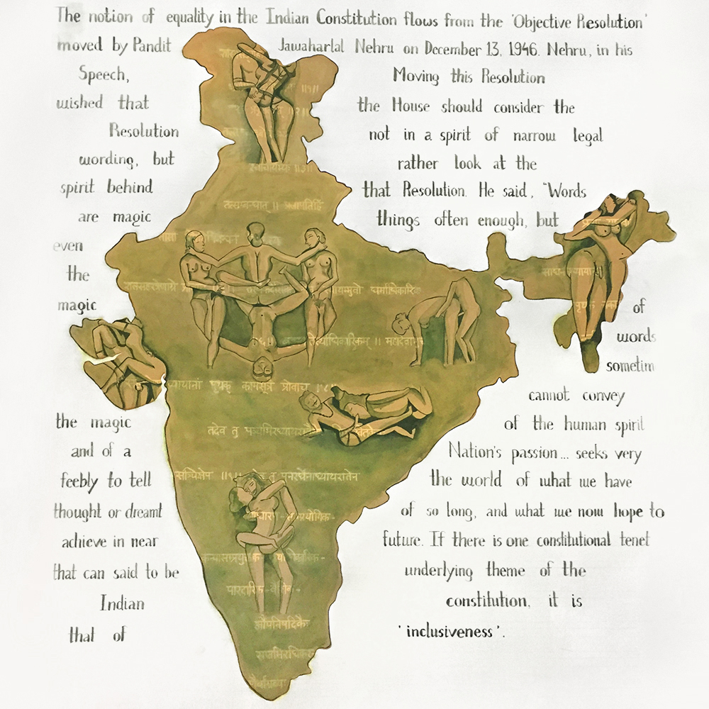"""2009 : """"Construction of Khajurao sculptures began in the 9th century. The erotic images of same sex in those sculptures gives evidence of homosexuality existing in ancient india.The ban on homosexuality, however was a western import when Lord Macaulay inserted section 377 as sexual offences against the order of nature.It was only in 2009 that Indian law stood for its constitution for ensuring inclusiveness and equality to one and all."""" ~ Preeti Phougat"""