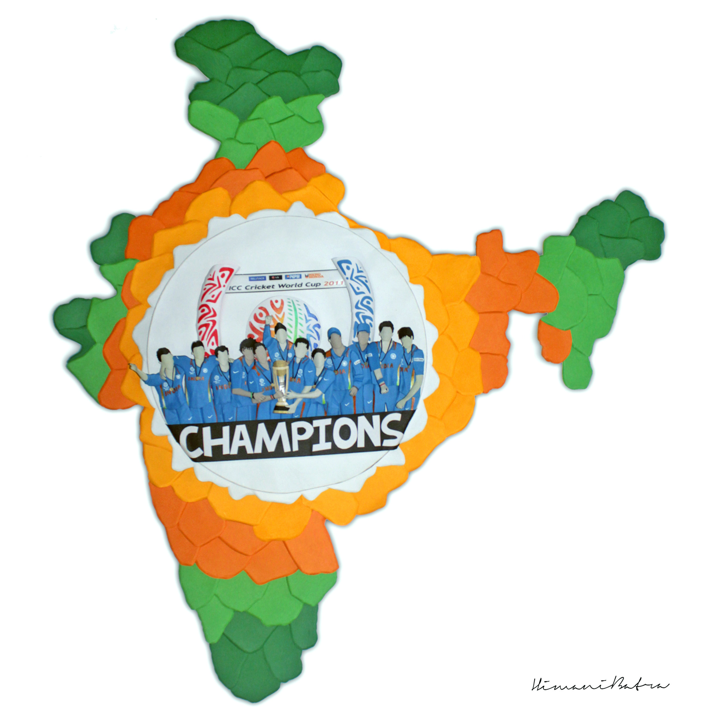 "2011 :  ""India wins the 2011 Cricket World Cup. The 2011 ICC Cricket World Cup was the tenth Cricket World Cup. It was played in India, Sri Lanka, and (for the first time) Bangladesh. India won the tournament, defeating Sri Lanka by 6 wickets in the final in Mumbai, thus becoming the first country to win the Cricket World Cup final on home soil. India's Yuvraj Singh was declared the man of the tournament.This was the first time in World Cup history that two Asian teams had appeared in the final. It was also the first time since the 1992 World Cup that the final match did not feature Australia."" ~  Himani Batra"