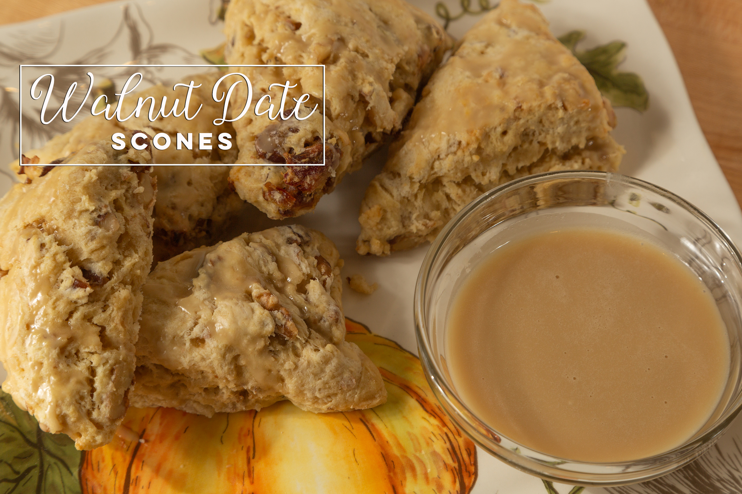 Walnut Date Scones - These delicious, flaky scones drizzled with maple glaze are just right paired with your favorite hot beverage. Click the photo for recipe.
