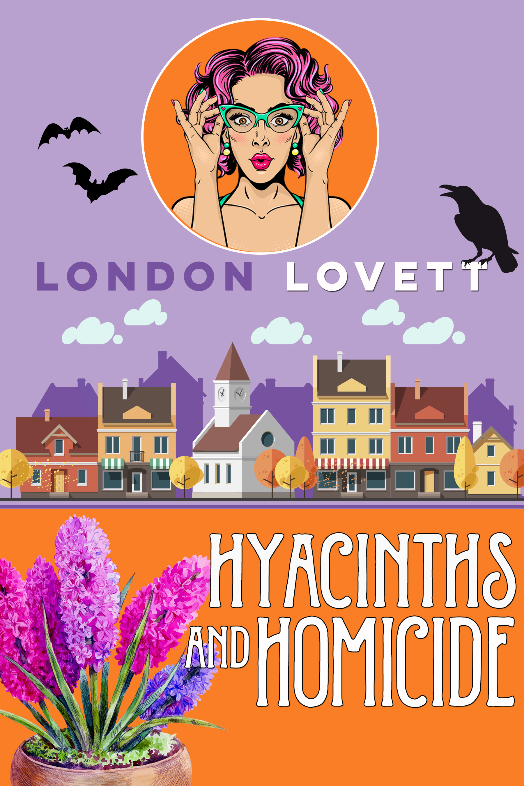 Hyacinths and Homicide - After a busy day providing bouquets and pumpkins for a ten year high school reunion at the posh Chesterton Regency Hotel, Lacey Pinkerton is thrilled to have a nice romantic dinner with her boyfriend, Detective James Briggs. But when the reunion's class bully is thrown from the hotel balcony, Briggs is called to duty. Lacey soon finds herself involved in a complicated murder investigation where the evidence points in every direction and the victim has more than his share of enemies.Read on: Amazon iBooks Nook Kobo Google