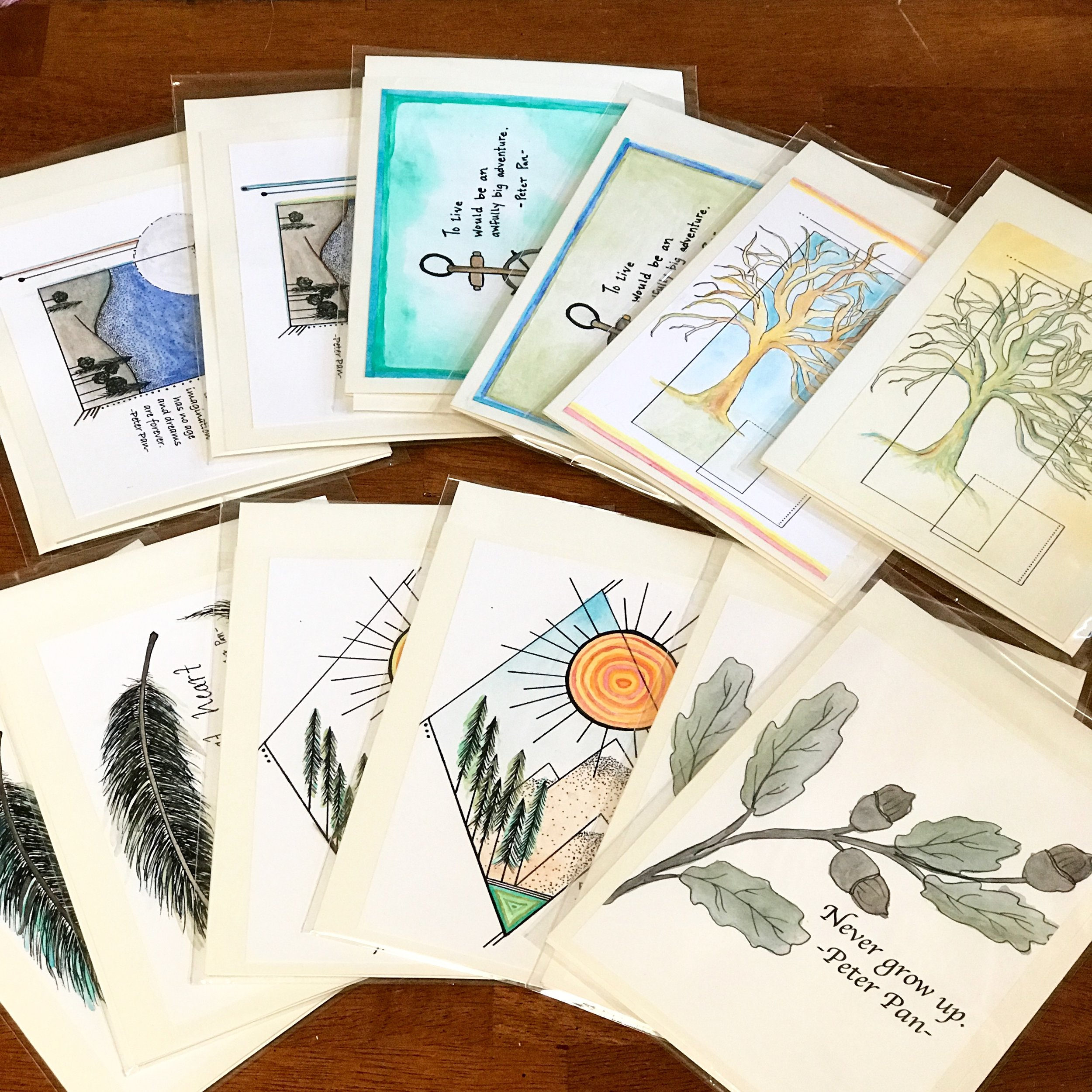 Custom greeting cards inspired by quotes from Peter Pan, created by Balsam & Olive. Each design was hand painted and customized to meet the client's vision.