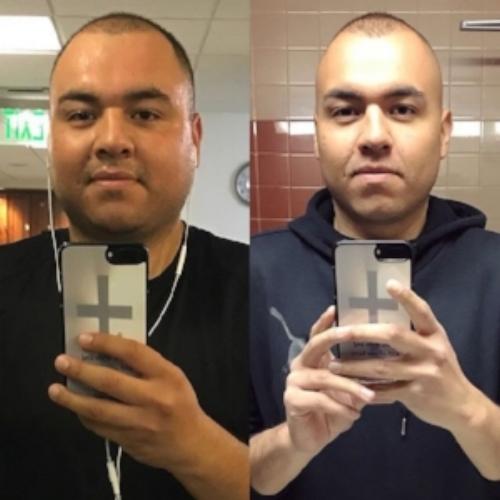 Beginning of fitness journey (Left), Present (Right).