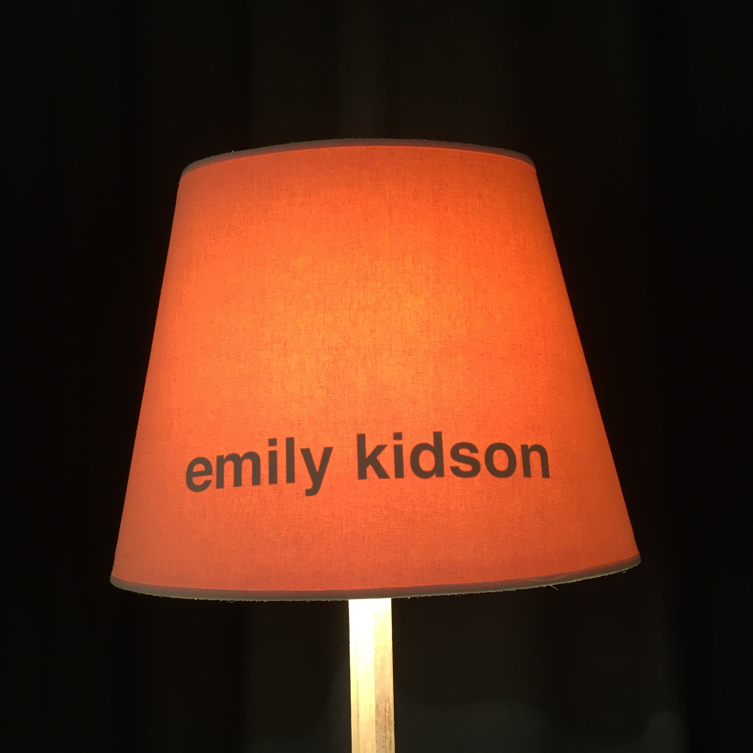 That's me! Every exhibitor gets a lampshade with their name on for the duration of the show.
