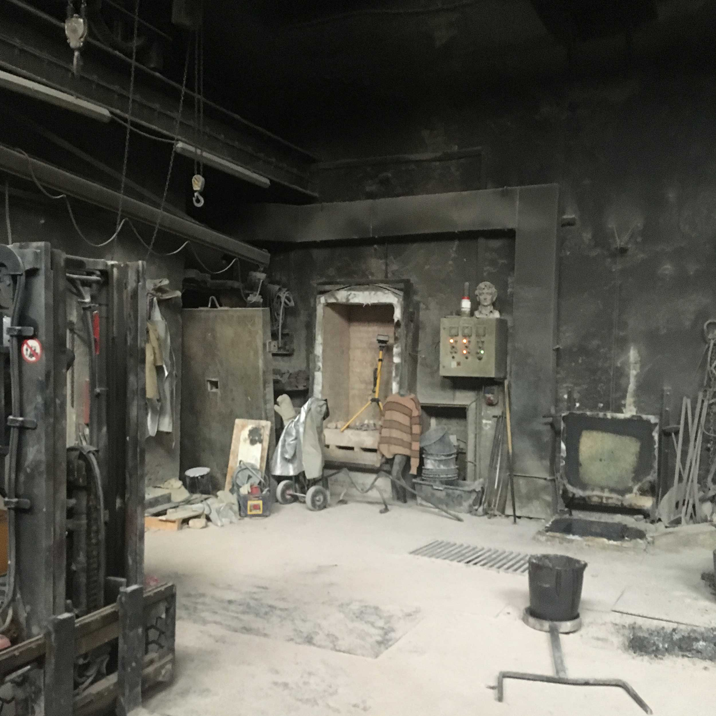 Inside the foundry - lots of dust!