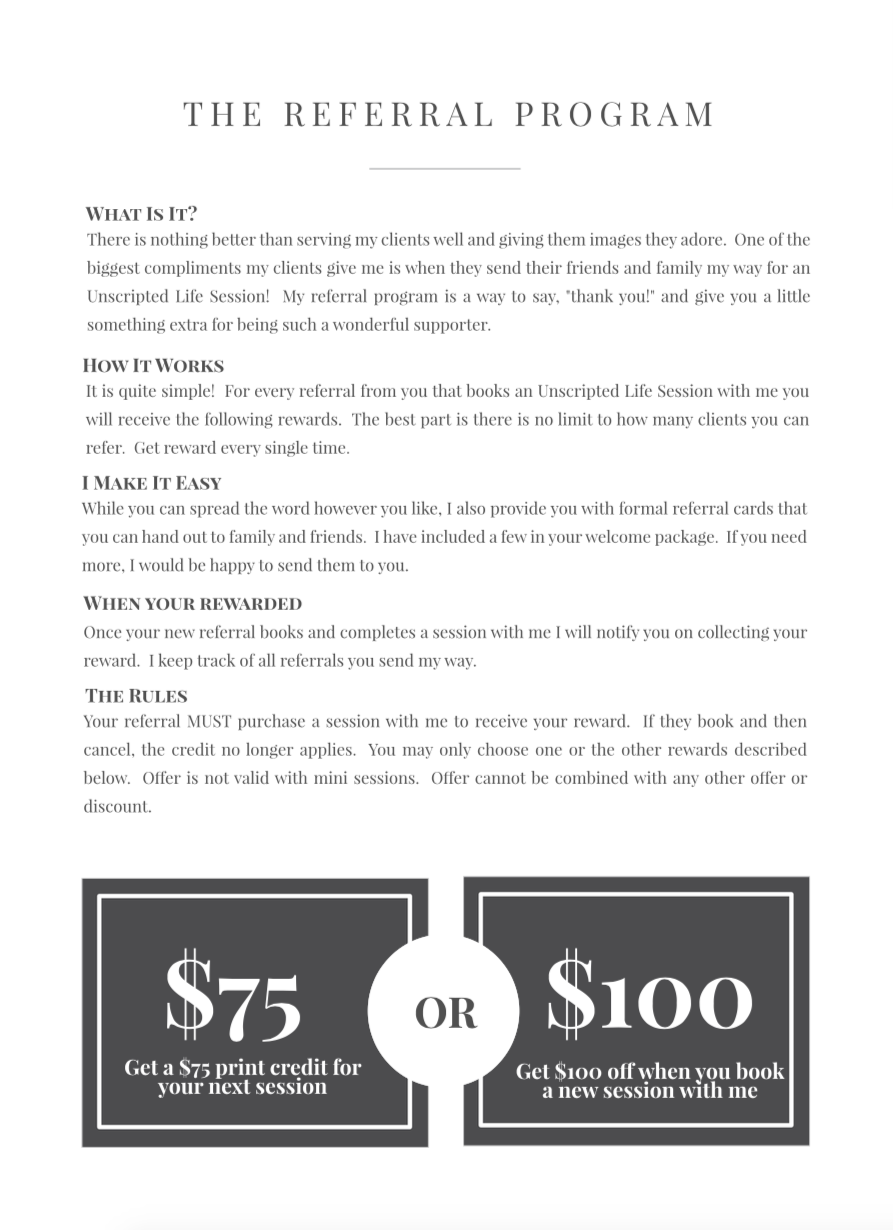 Details on The Referral Program Offered through Photography by Jessica Leigh