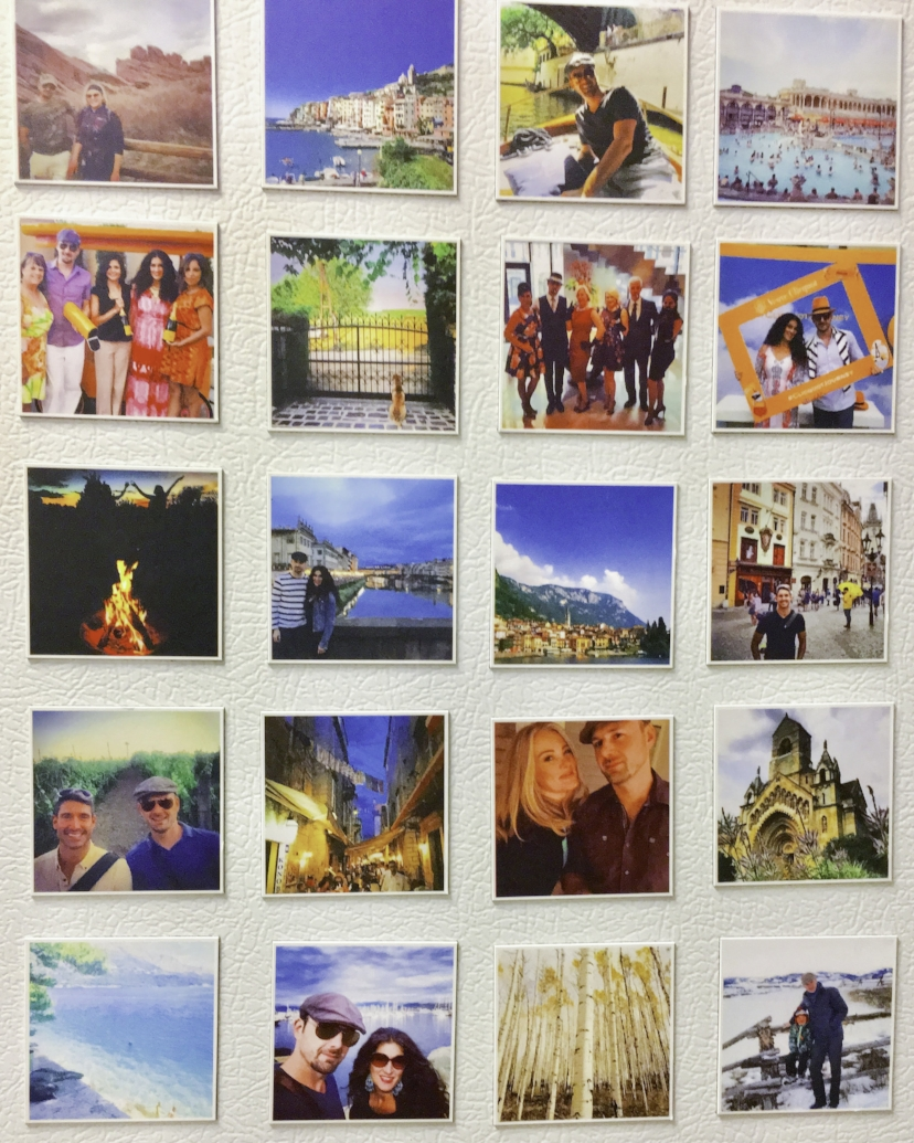Guttau's refrigerator door serves as a canvas for gathering many fond travel memories.