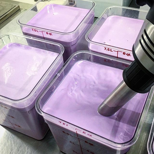 Working on a fresh batch of Ube snow blocks for the weekend 😈 #iceskimo #handmade #shavedsnow Post your flavor requests 👇🏻