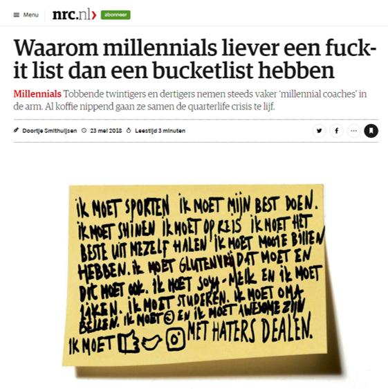 Waarom millennials liever een fuck-it list dan een bucketlist hebben