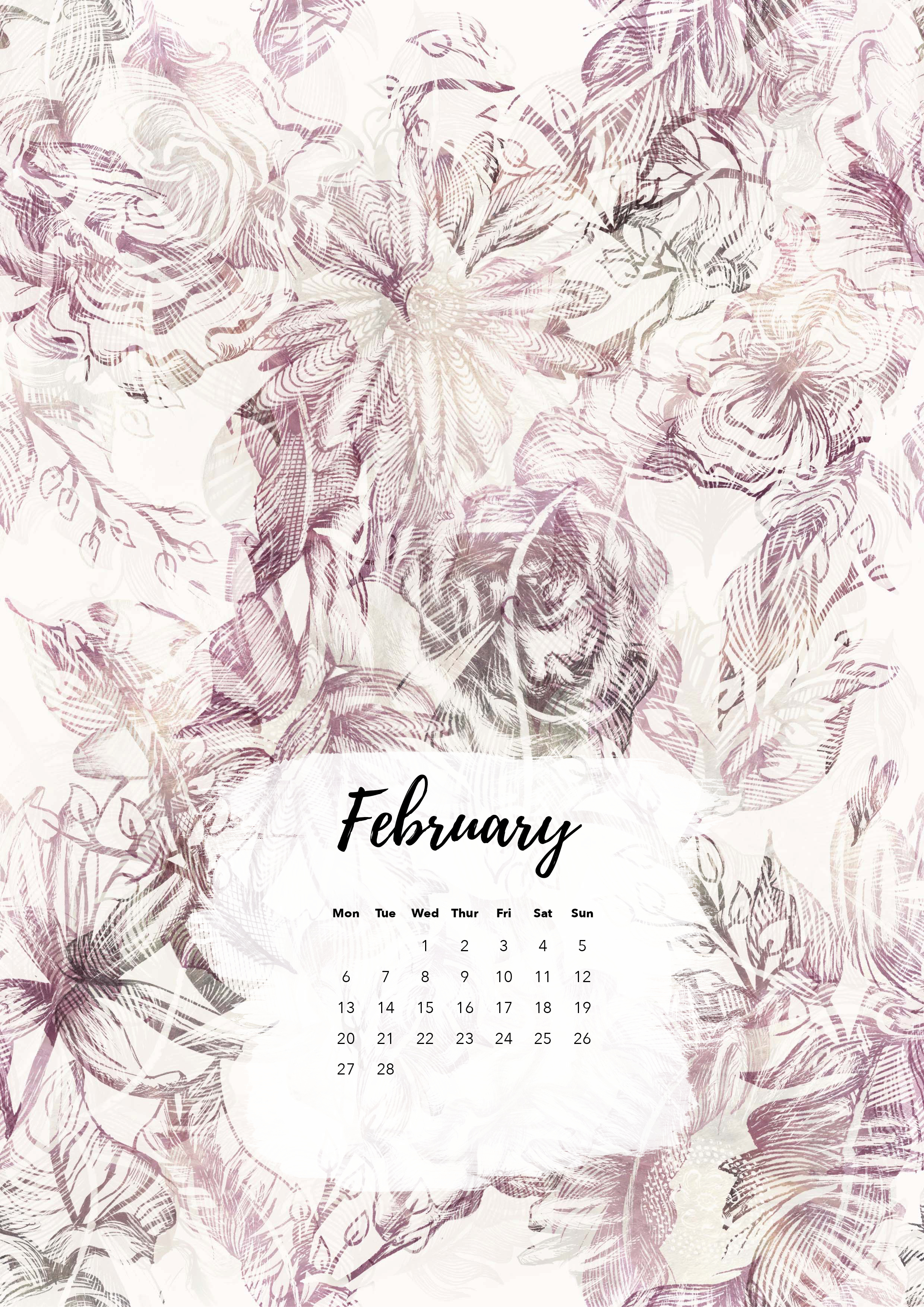 Felicity & Ink | Free Printable Calendar | February 2017 | Feathers & Floral.jpg
