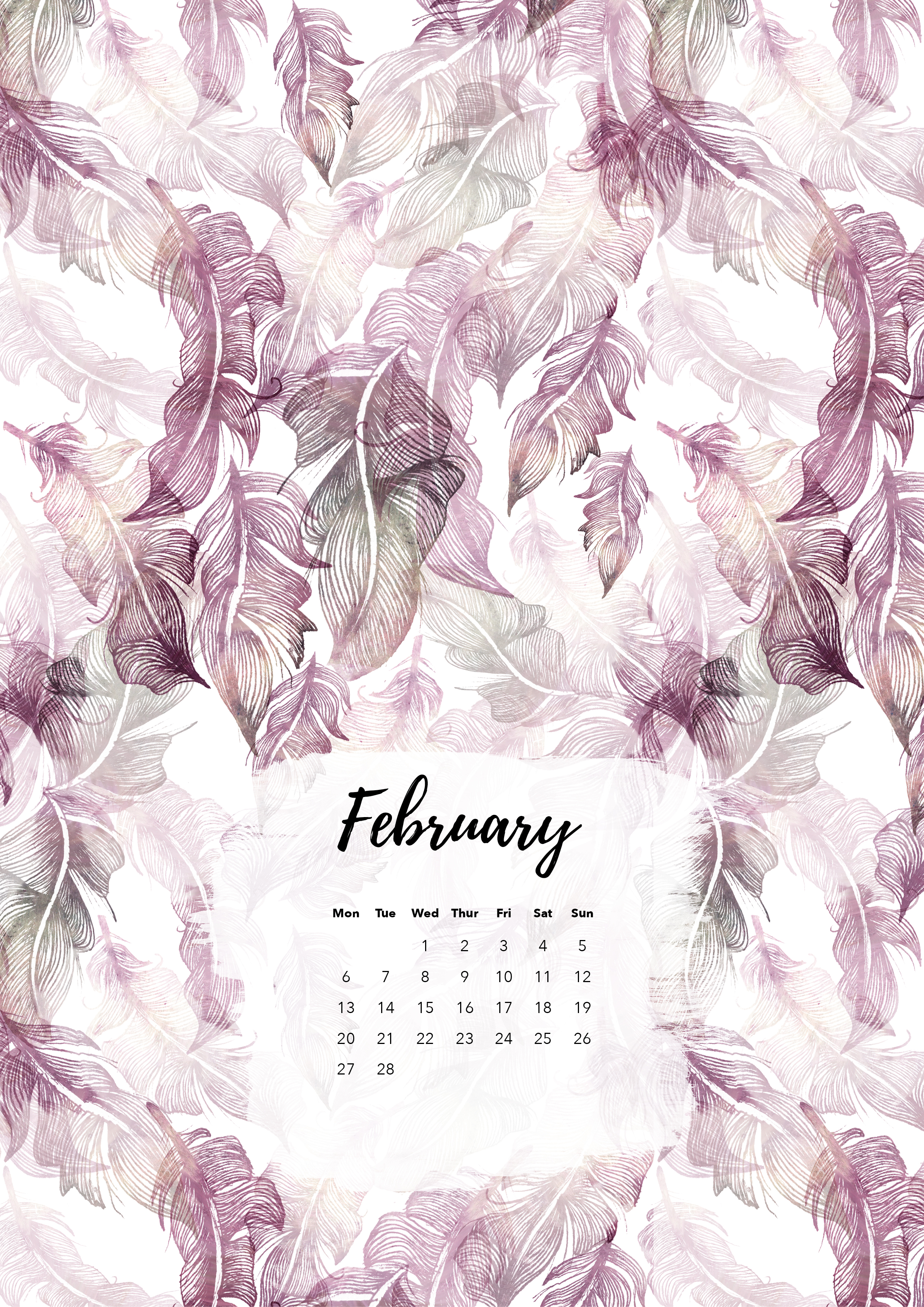 Felicity & Ink | Free Printable Calendar | February 2017 | Faded Feathers.jpg