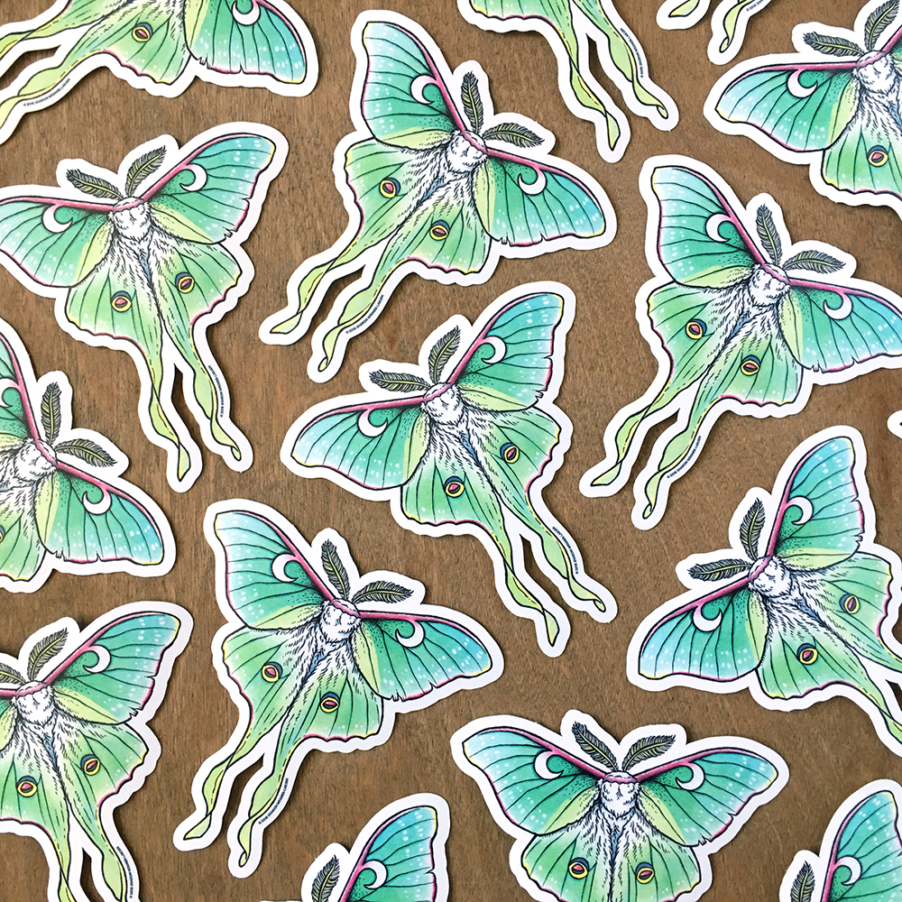 Luna moth vinyl stickers at the OMEGAFAUNA Etsy shop