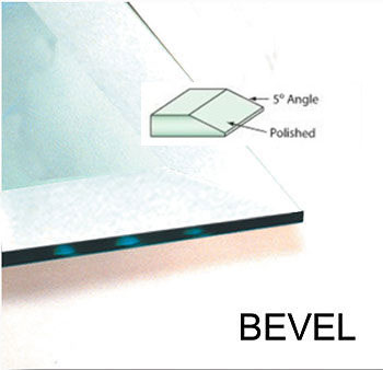 """An example of a beveled edge on a glass tabletop. Bevels are normally 1/2"""" to 1"""" deep and are put on 1/4"""" glass and thicker."""
