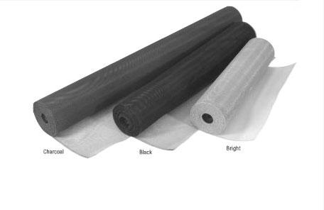 Examples of Charcoal Fiberglass Mesh, Black Solar Mesh and Bright Aluminum Mesh Rolls.
