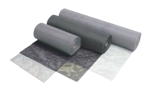Rolls of traditional Fiberglass mesh in Grey and Charcoal.
