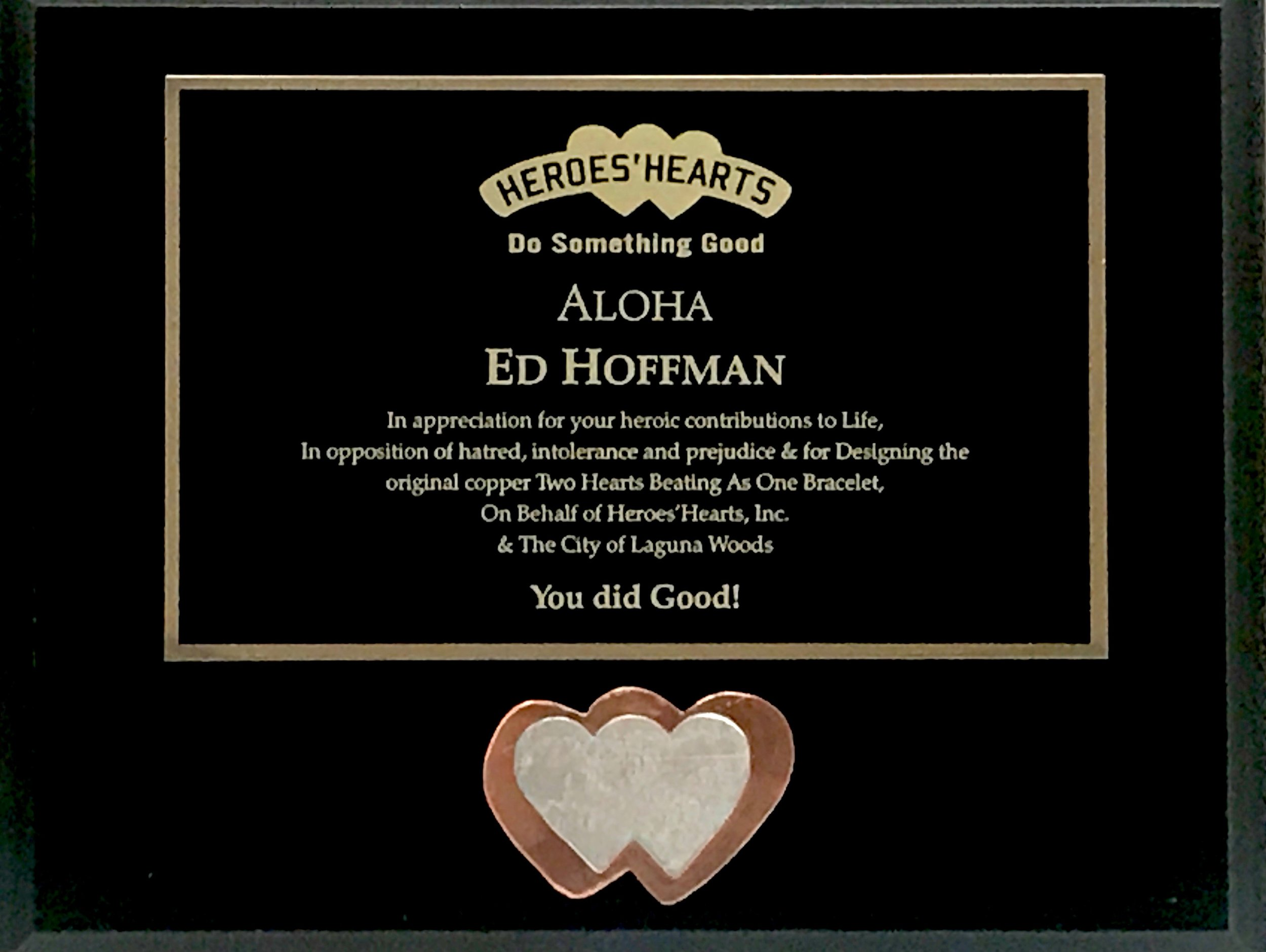 Ed received this award in Laguna Woods Village, the City of Laguna Woods, Veterans Day 2018