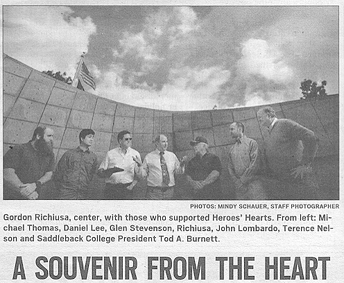 1st Aloha Award went to Saddleback College VETS staff and students for creating exact replica's of the original Heroes' Hearts (Two-Hearts-As-One) bracelet.