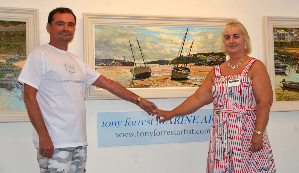 Tony Forrest with Margaret Parnell at the Salthouse Gallery.