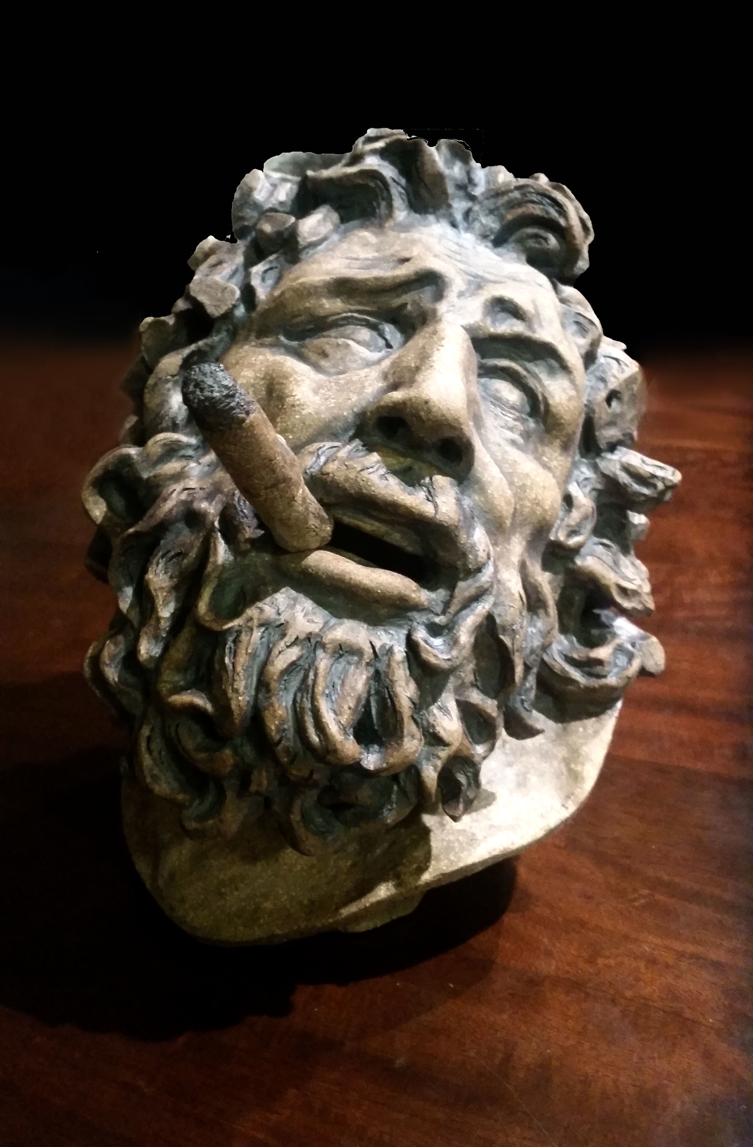 Laocoön and His Stogie - Clay, Iron Stain