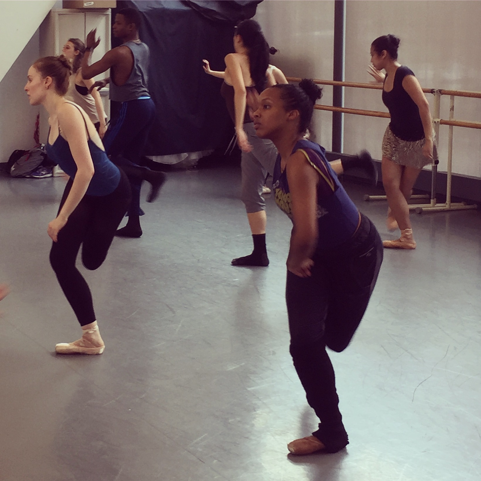 Brooklyn Ballet dancers, Elizabeth Sherlock-Lewis Tollett, Courtney Cochran, Acee Francis, Christine Sawyer and members of Gleich Dances developing the Martha stories in rehearsal.