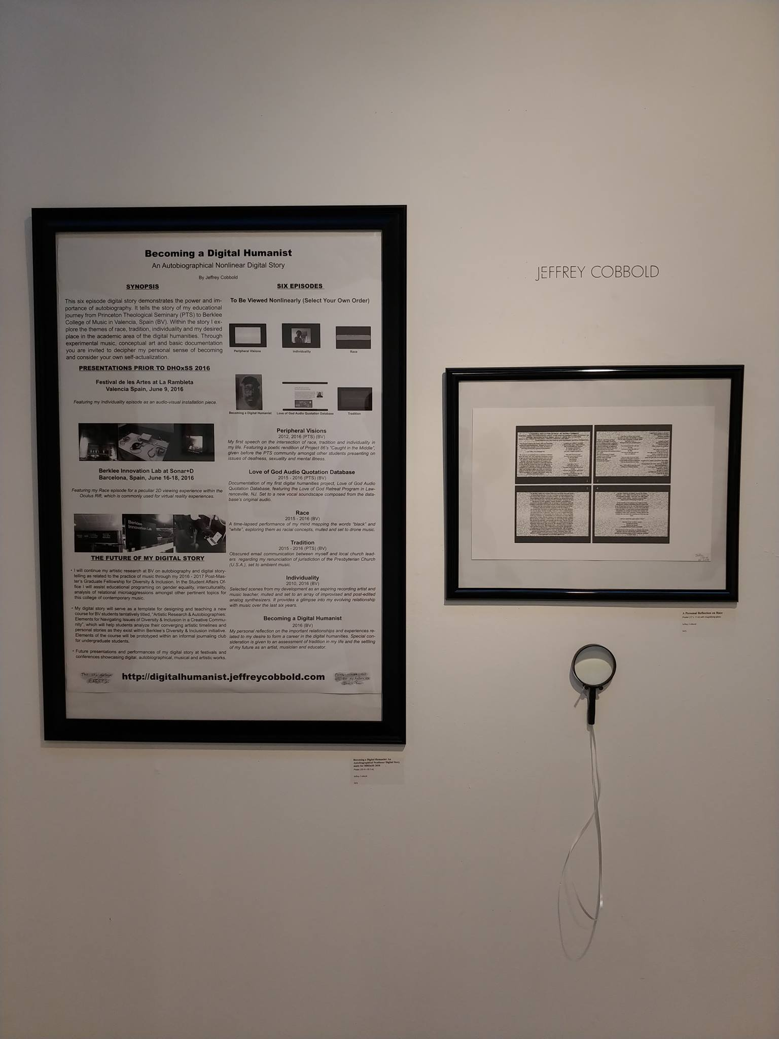Gallery photo of the posters  Becoming a Digital Humanist: An Autobiographical Nonlinear Digital Story for DHOxSS 2016  (left) and  A Personal Reflection on Race  (right)   at Artworks Trenton, Trenton, New Jersey. December 2018