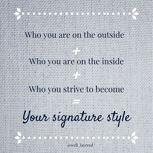 Who you are on the outside: your unique to you body type (If you don't know what yours is, make sure to take my dress for your body type quiz) * Who you are on the inside: what you believe in, what you stand for and how you feel * Who you strive to become: what are your goals? Are you projecting the version of you that you are working towards? * Signature style is something that can be really hard to find.  The equation sounds easy enough, but throw in the ebbs and flows of life, and you have an equation that is constantly evolving * If you aren't tuning into these three aspects of yourself on a regular basis, you may be feeling a little out of sync with the clothes hanging in your closet.  Enter: the dreaded style rut! * Not everyone wants to work with a stylist, and that's ok!  However, I do believe everyone deserves to have great style, so starting with my free quiz and spending a few minutes to answer the questions above is a great start! * If it's feeling way to overwhelming and you aren't sure where to start...it may be time to check in with a stylist to help you get back on track!  Enter: your pal Jess 😘 * If you aren't sure if working with a stylist is right for you, that's ok too!  Shoot me a quick message here or via email at hello@WellLayered to start the discussion ❤️ * Cheers to finding the most beautiful and confident version of you! 🥂