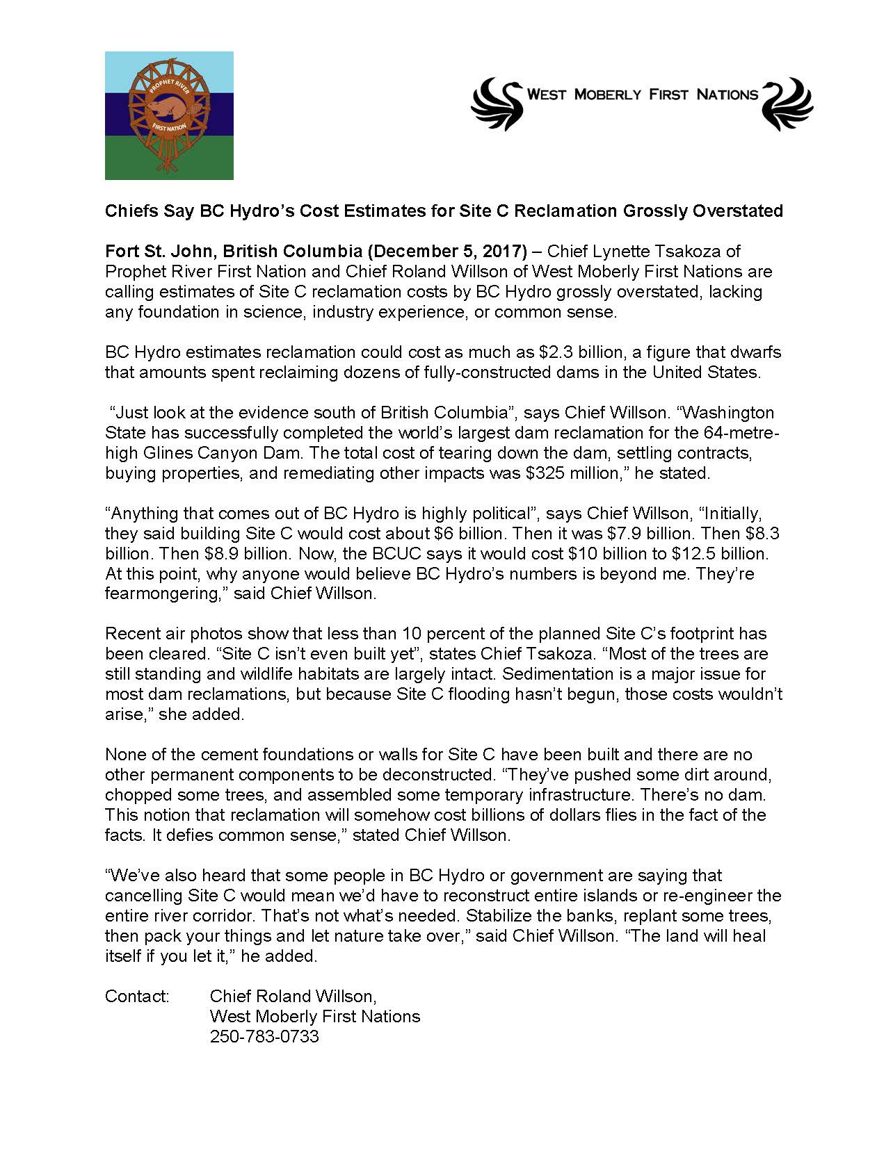 2017 12 04 PRESS RELEASE FNs Say Costs of Reclamation Grossly Overstated 4.0.jpg