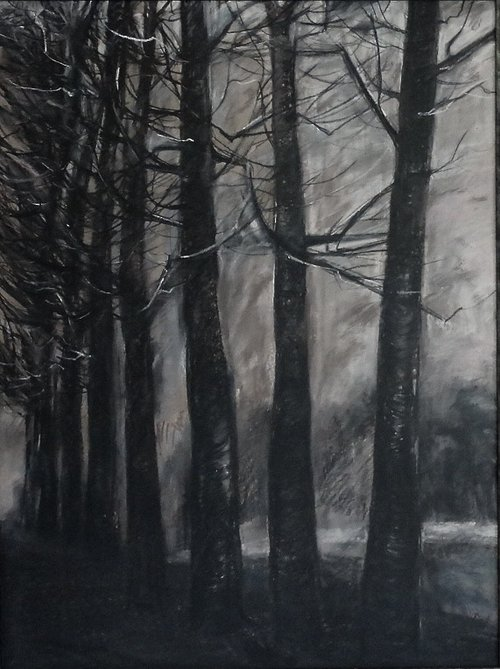Road home - Charcoal & conte, 100 x 80 cms framed