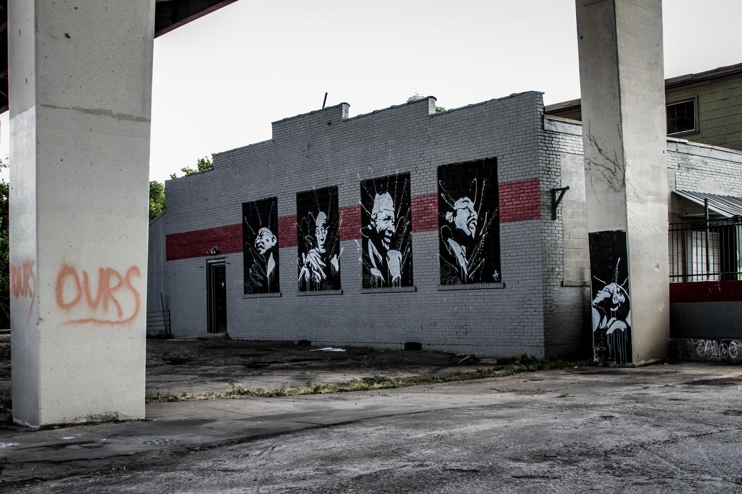 Mural by Thaxton Abshalom Waters underneath Jubilee Bridge in Nashville, TN