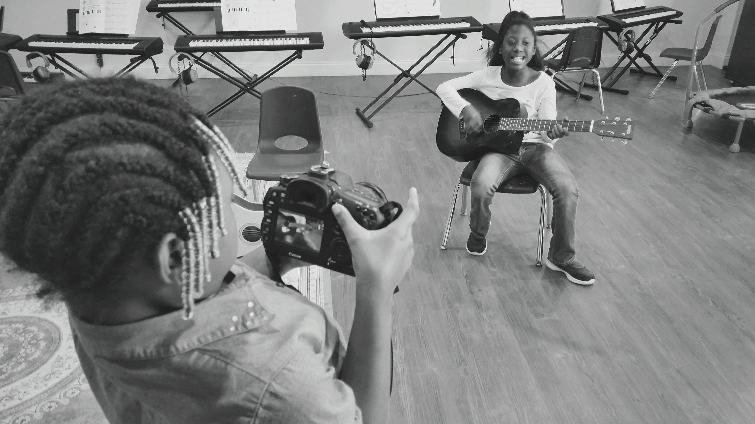 Two of my camera workshop students at NIA House Montessori School in Nashville, TN