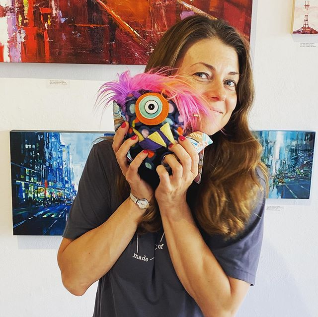Awwwww Alfie the Squeeble found his forever home with @olenasf  They look so cute together!! I wish them many fun adventures together 💖💖💖 #projectsqueeble #fibergirldesigns #olenasf #cityartsgallerysf #cityartsgallery #makeart #upcycledmaterials #monsterfriends #sfgallery #sanfrancisco #missionsf #valenciastreet #valenciastore #monsterlady #buyartfromartists #buyartnotdrugs #upcycledmonsters #monstersarecool #galleryartist #sanfranciscoartgallery #cooperativeartgallery #weareallcreative #thankyoufellowartists #goseeartsf #iamsolucky  #textilesporn #textiles #upcyclersofinstagram  #artistinstagram