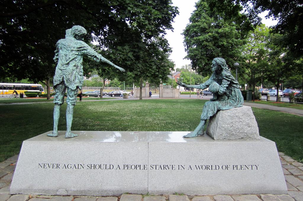 When have we ever had a world of plenty? The Irish Famine Memorial at Harvard University.