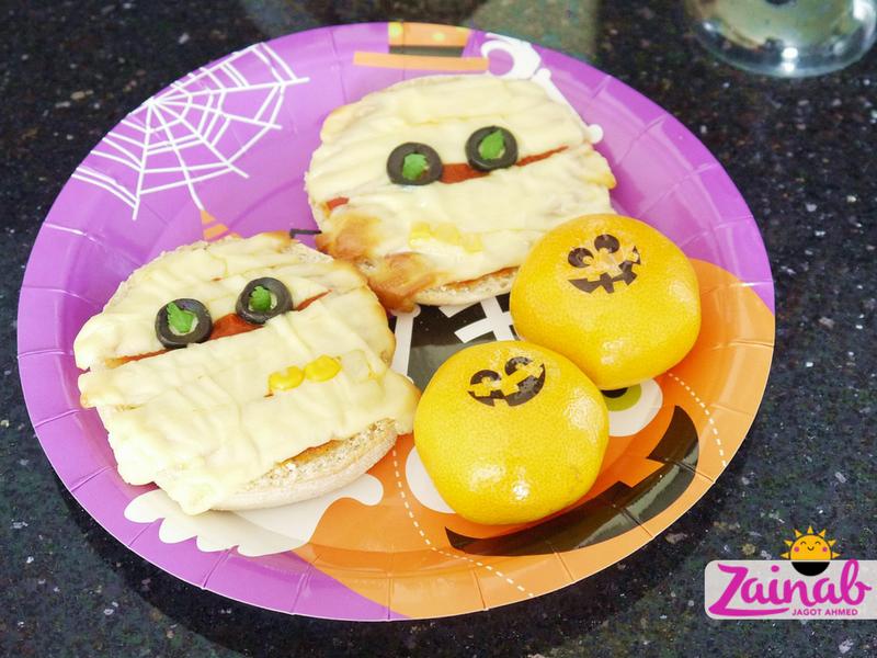 Mummy Pizza with Creepy Coriander Eyes