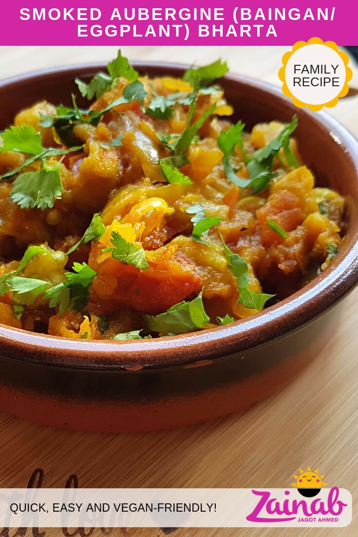 Smoked Aubergine Bharta Recipe, Eggplant Curry, Baingan Bharta, Vegetarian, Vegan, Family recipe