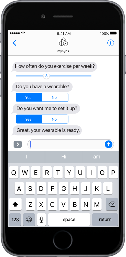 Mobile app with guided quick chat