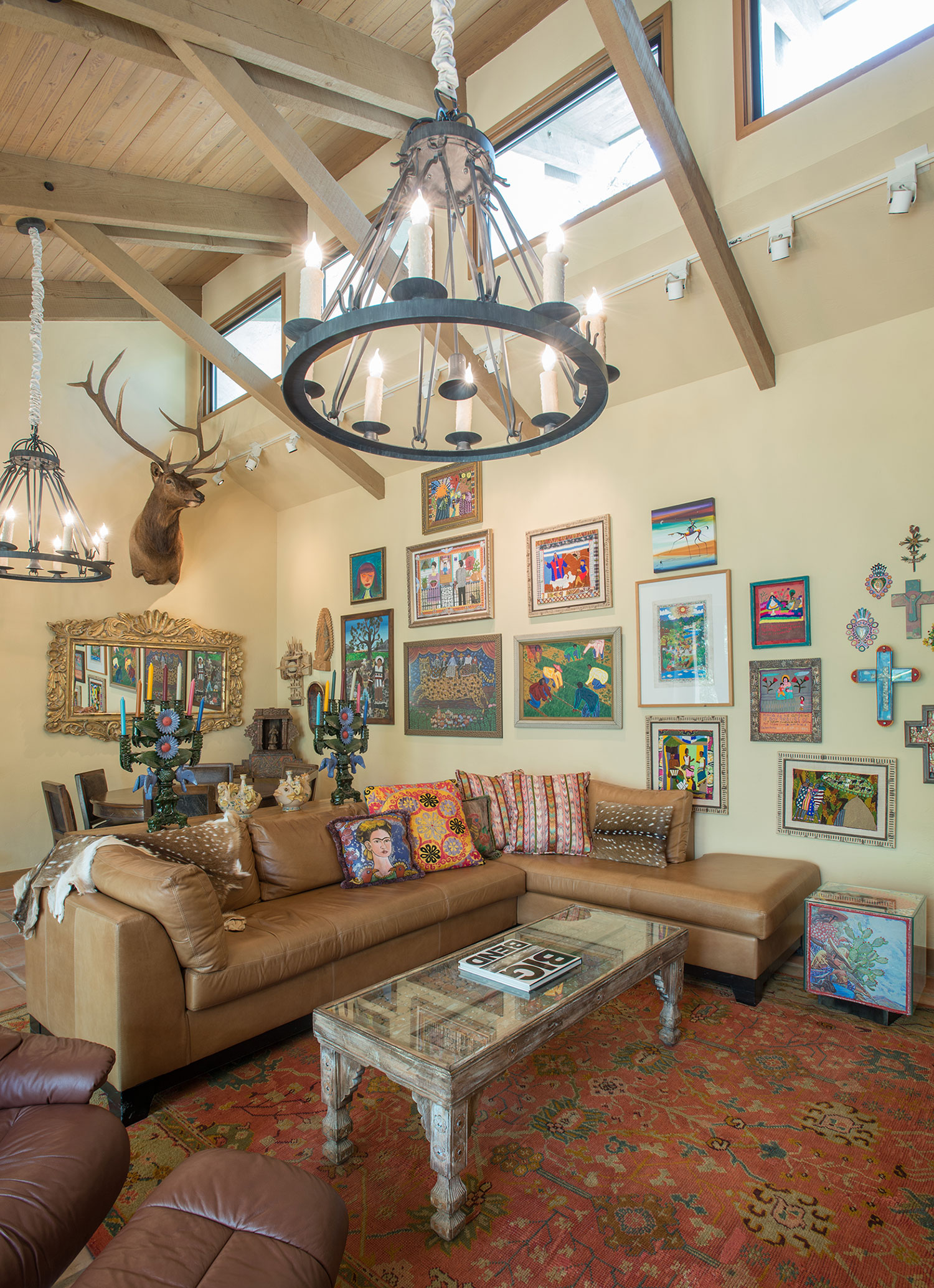 An Artist's Retreat - The client's love for Mexican and South American art are scattered throughout the home, and the color scheme for the interior was pulled from these various artifacts.