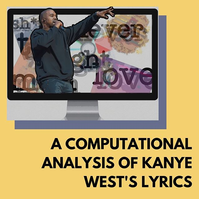 """• A COMPUTATIONAL ANALYSIS OF KANYE WEST'S LYRICS • """"Kanye West is one of the most controversial rappers out there today. You either love him or hate him, and anyone engaged in today's pop culture has a stance. However, there is one thing that most people can agree on: Kanye West is responsible for some of the most creative and funny lyrics in music."""" • Analysis by Yash Gaitonde, art by AGORA Media Live now, link in bio"""