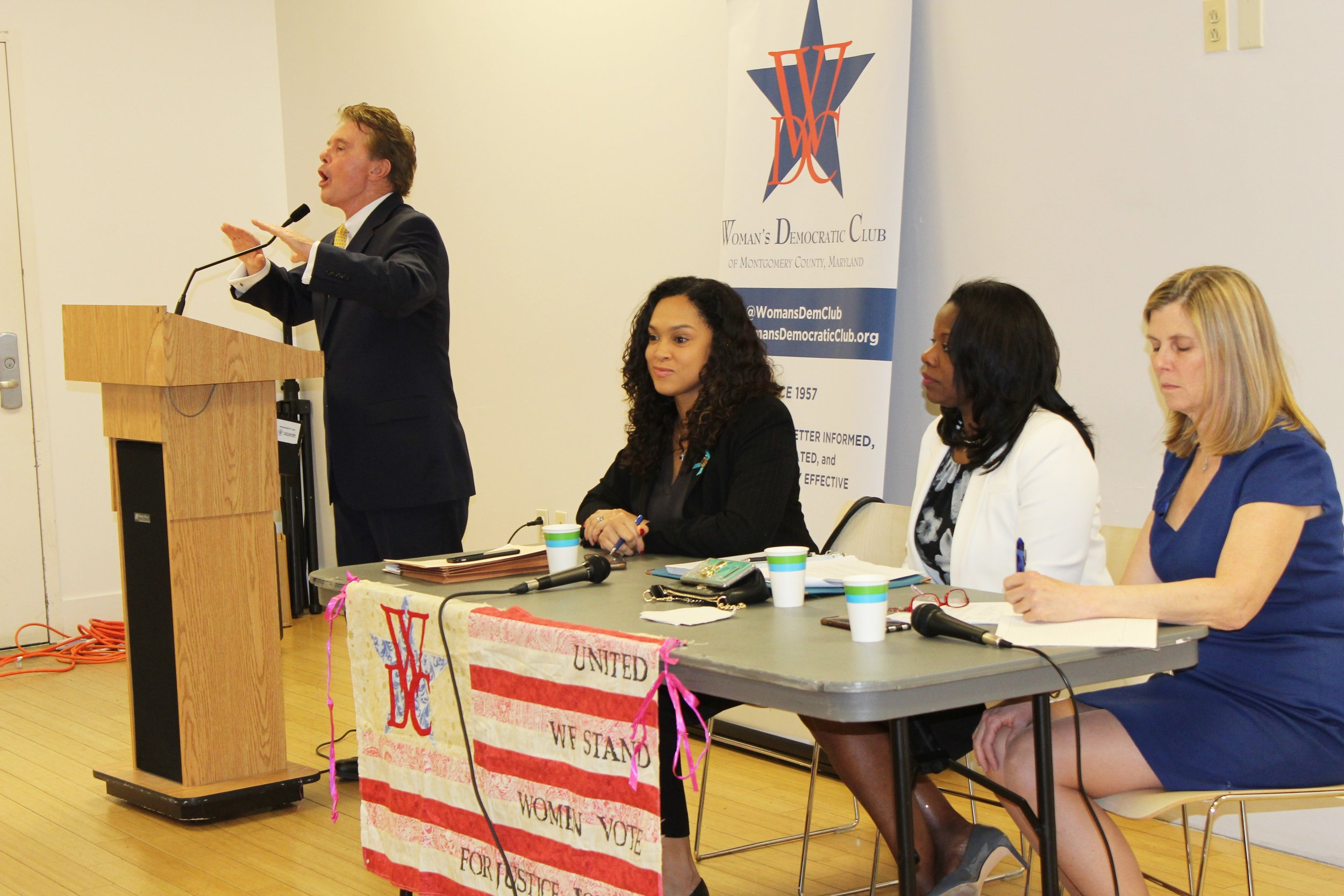 From Left: John McCarthy, State's Attorney for Montgomery County facilitates panel with Marilyn Mosby, State's Attorney for Baltimore City, Aisha Braveboy, State's Attorney for Prince George's County, and Anne Colt Leitess, State's Attorney for Anne Arundel County.