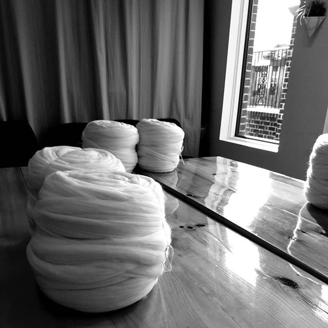 The stage is set.  #knitworthyarts #kwarts #chunkyknitclass #chunkyknitmerino