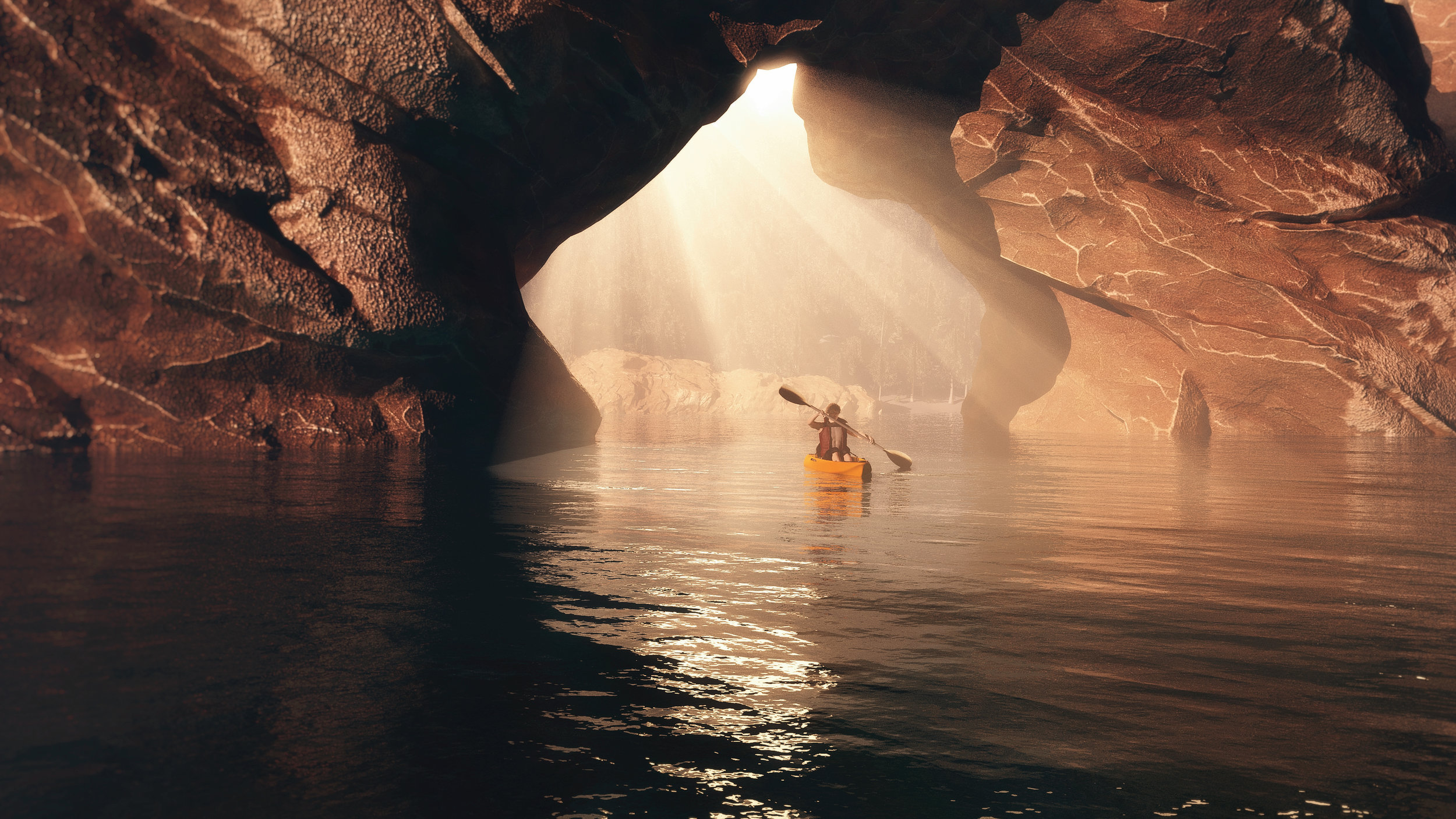 Image of a person in a kayak paddling alone in a cave with light streaming in through an opening behind.