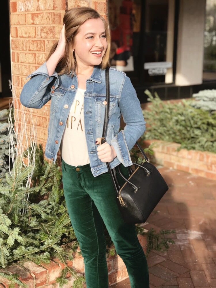 """For a perfect weekend friendly look, I styled the crops with my favorite political t-shirt - read """"Champagne Campaign"""" and a denim jacket.  I have a petite build and often have a tough time finding casual shirts that fit my shoulders.  Francesca's  is one of my favorite stores and anyone who has ever shopped with me will tell you it's near impossible for me to leave the store without spending at least $100. When I tried on their casual wear and tried on their t's it was a total game changer - they're super soft but also come in a variety of necklines, sleeves and bottom cuts - perfect for a your favorite jean or to wear with leggings for a movie night I bought this shirt last fall, but  etsy  has a wonderful selection of handmade shirts similar to this - go shop small!"""