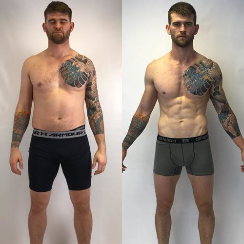 Rich's transformation after some months of intense training