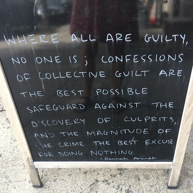 ‪Kinda intense for a coffee shop sign but true. (The Banality of [Climate Change]?) #guilty‬