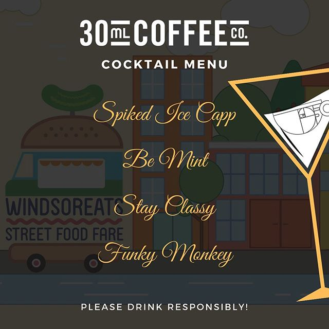 ☕️🍸Coffeeholic Cocktail Menu🍸☕️ @windsoreats Street Food Fare this Friday, July 12th, 2019! Check it... 1. Spiked Ice Capp - A perfect blend of our cold brew (dark choc or peanut butter) mixed with Rum Chata. 🤪  2. Be Mint - Who doesn't like chocolate mint? Featuring our dark chocolate cold brew mixed with tequila, simple syrup, mint bitters, topped with soda and garnished with mint spring. 🍃  3. Stay Classy - Bringin' a little class with our version of the Manhattan cocktail. Featuring our dark chocolate cold brew mixed with whiskey, averna, bitters, rimmed and topped with an orange peel. 🍊  4. Funky Monkey (vegan) - Do you remember eating peanut butter & banana sandwiches as child? This is our version in liquid form! Featuring our peanut butter chocolate cold brew, bacardi banana, almond baileys, montenegro amaro, bitters, shaken and topped with banana chips. 🍌  Who said you can only drink coffee with cream and sugar?  See you there Windsor! ✌️❤️☕️