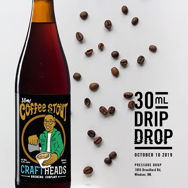"🗣 Calling all COFFEE + BEER Lovers! This is where it all began...CH x 30mL present to you a true meaning of a ""Double-Double"" - 6.9% ABV / 69 IBU, filling your palate with Dark Roasted notes of bittersweet Coffee. You still finding yourself ordering drive-thru on the daily? Maybe its time to DROP old habits 😉 This is part 1 - save the date 10.10.19...more💧to come! ✌️❤️☕️🍻"