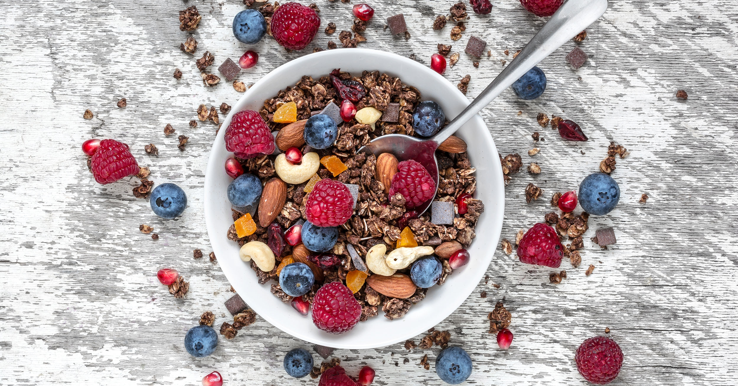 Plant-based breakfast granola and cereal, healthy vegan brunch food.