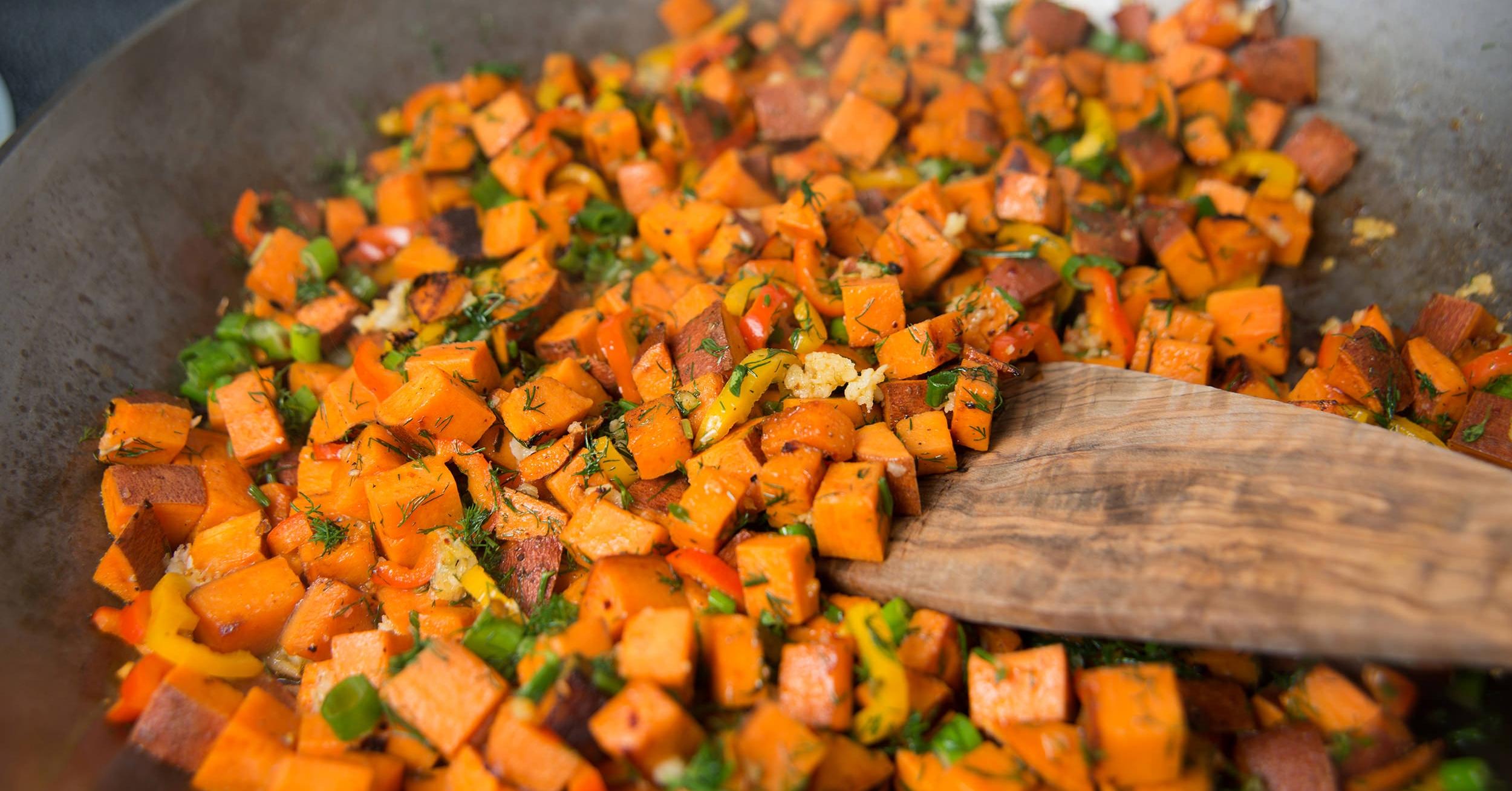 Plant-based breakfast skillet, healthy vegan brunch food.