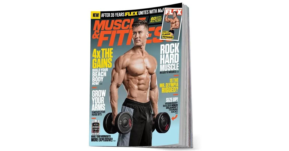 Vegan bodybuilder Nimai Delgado on cover of Muscle and Fitness magazine.