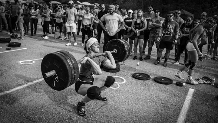 Vegan athlete Danielle Sidell from Philadelphia doing a clean at a CrossFit competition.